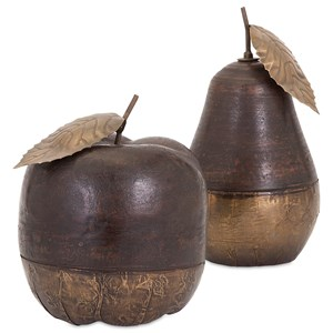 IMAX Worldwide Home Decorative Figurines Wood and Brass Apple and Pear - Set of 2