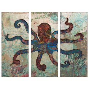IMAX Worldwide Home Decorative Figurines Splash Tryptych Octopus