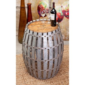 IMAX Worldwide Home Decorative Figurines Gibbs Wood and Metal Barrel