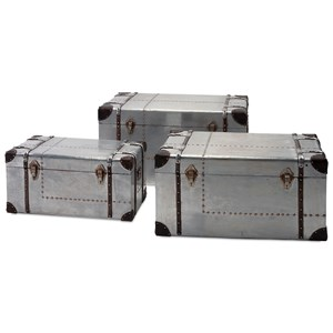 IMAX Worldwide Home Decorative Figurines Brewer Aluminum Trunks - Set of 3