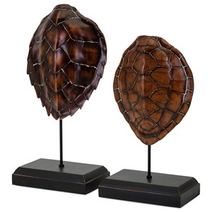IMAX Worldwide Home Decorative Figurines Sanem Turtle Shells on Stands - Set of 2