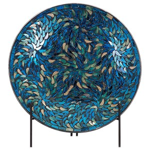 IMAX Worldwide Home Decorative Figurines Peacock Mosaic Charger and Stand