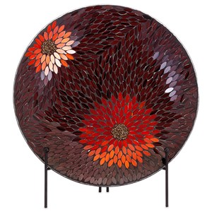 IMAX Worldwide Home Decorative Figurines Autumn Flower Mosaic Charger and Stand