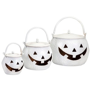 IMAX Worldwide Home Decorative Figurines Lidded Pumpkins Shinny White - Set of 3
