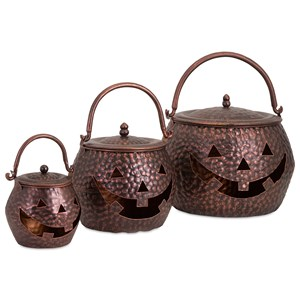 IMAX Worldwide Home Decorative Figurines Lidded Pumpkins Brown - Set of 3