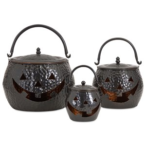 IMAX Worldwide Home Decorative Figurines Lidded Pumpkins Shiny Black - Set of 3