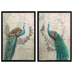 IMAX Worldwide Home Decorative Figurines Panache Peacock Art - Set of 2