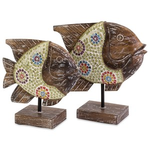 IMAX Worldwide Home Decorative Figurines Kawela Mosaic Glass Fish - Set of 2
