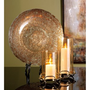 IMAX Worldwide Home Decorative Figurines Copper Patina Glass Charger