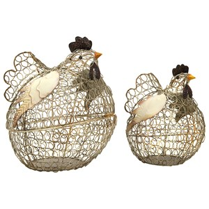 IMAX Worldwide Home Decorative Figurines Elmore Wire Chickens - Set of 2