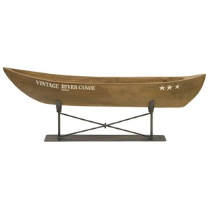 IMAX Worldwide Home Decorative Figurines Vintage River Canoe on Metal Stand