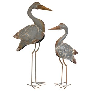 IMAX Worldwide Home Decorative Figurines Fairfax Metal Cranes - Set of 2
