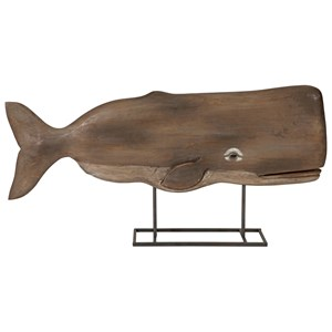IMAX Worldwide Home Decorative Figurines Achilles Carved Wood Whale Statuary