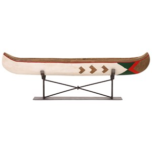 IMAX Worldwide Home Decorative Figurines Adirondack Large Canoe on Metal Stand