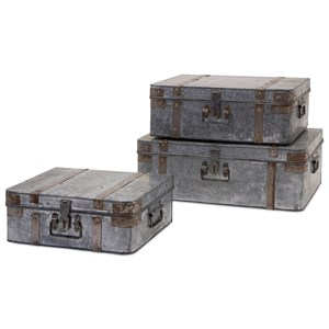 IMAX Worldwide Home Decorative Figurines Teri Galvanized Suitcases - Set of 3