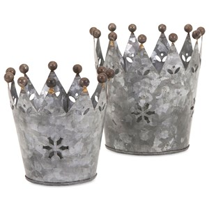 IMAX Worldwide Home Decorative Figurines Maddy Galvanized Crowns - Set of 2