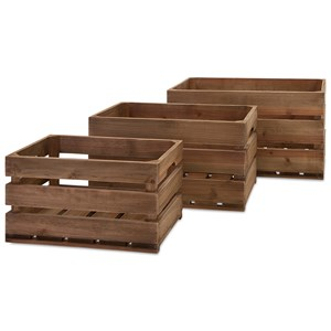 IMAX Worldwide Home Decorative Figurines Ainsley Wood Crates - Set of 3