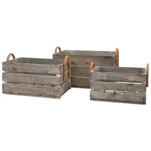 IMAX Worldwide Home Decorative Figurines Cassie Wood Crates - Set of 3