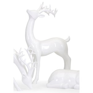 IMAX Worldwide Home Decorative Figurines Reindeer- White -Right