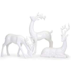IMAX Worldwide Home Decorative Figurines Reindeer- White-Left