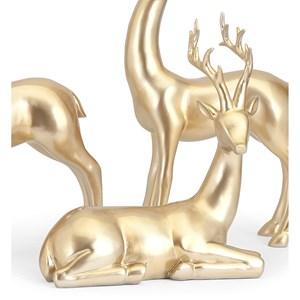 IMAX Worldwide Home Decorative Figurines Reindeer-Gold-Seated
