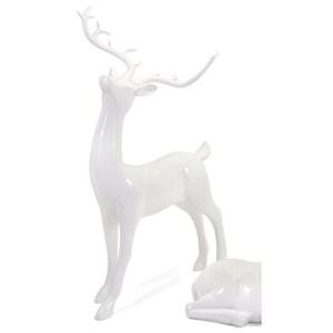 IMAX Worldwide Home Decorative Figurines Playful Reindeer- White (antlers KD)-Standin