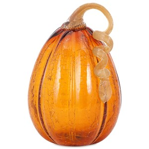 Amber Large Glass Pumpkin with LED Light