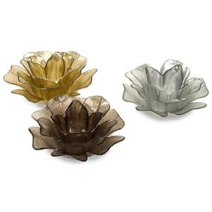 Hanna Glass Floral Votives - Set of 3