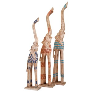 Rashidi Hand-painted Elephants - Set of 3
