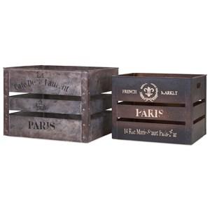 Paris Metal Crates - Set of 2