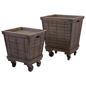 IMAX Worldwide Home Ella Elaine Wood Cart Tray Side Tables - Set of 2