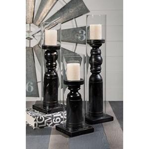IMAX Worldwide Home Ella Elaine Large Wood and Glass Candleholder