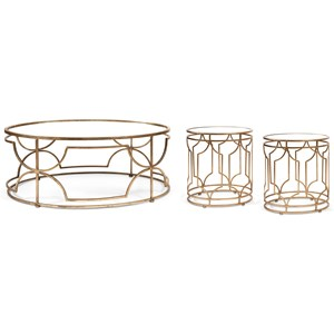 Sherine Mirror Top Accent Table Set