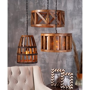 IMAX Worldwide Home Lighting Kennedy Wood and Wire Pendant Light