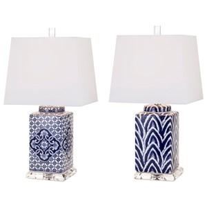 IMAX Worldwide Home Lighting Carolina Hand-painted Ceramic Lamp - Ast 2