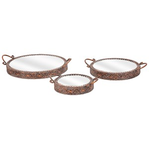 IMAX Worldwide Home Mirrors Kaden Mirror Top Trays - Set of 3