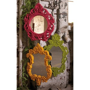 IMAX Worldwide Home Mirrors Finely Yellow Baroque Wall Mirror