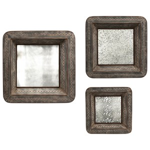 IMAX Worldwide Home Mirrors Jezant Mirror Tray Wall Decor - Set of 3