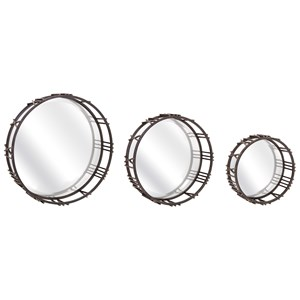 IMAX Worldwide Home Mirrors Roman Time Mirror Tray Wall Decor - Set of 3