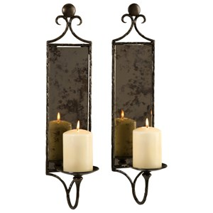 IMAX Worldwide Home Mirrors Hammered Mirror Wall Sconces - Set of 2