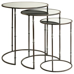 IMAX Worldwide Home Mirrors Flouressa Mirror Top Nesting Tables Set