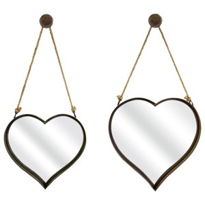IMAX Worldwide Home Mirrors Heart Shape Wall Mirrors - Set of 2