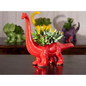 IMAX Worldwide Home Pots and Planters Dinosaur Red Ceramic Planter