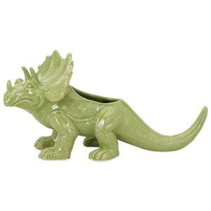 IMAX Worldwide Home Pots and Planters Dinosaur Green Ceramic Planter