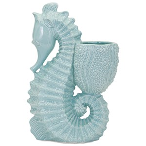 IMAX Worldwide Home Pots and Planters Seahorse Ceramic Planter