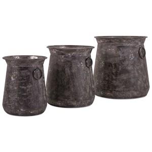 IMAX Worldwide Home Pots and Planters Homestead Metal Pots - Set of 3