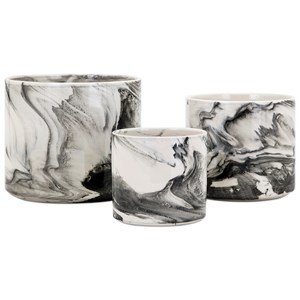 IMAX Worldwide Home Pots and Planters Kai Faux Marble Planters - Set of 3