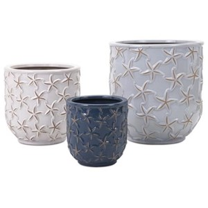 IMAX Worldwide Home Pots and Planters Starfish Earthenware Planters - Set of 3
