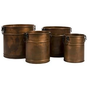 Tauba Round Copper Finish Planters - Set of