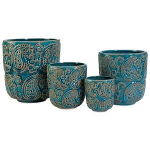 IMAX Worldwide Home Pots and Planters Paisley Blue Planters - Set of 4